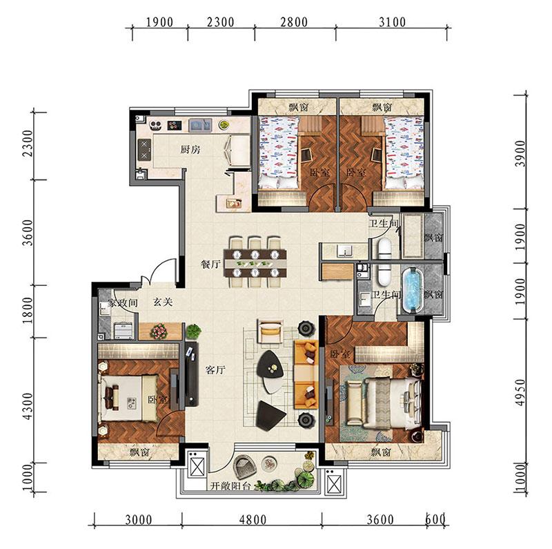 长春万科翡翠学院140平米洋房户型图和样板间